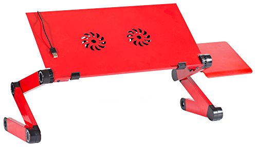 Ergonomic Aluminum Laptop Office Desk Stand - Adjustable Macbook, Notebook Table Vented w/ 2 Quiet CPU Cooling Fans - Light Weight Holder Perfect For Lap or Bed Desk & TV Dinner Tray (red)