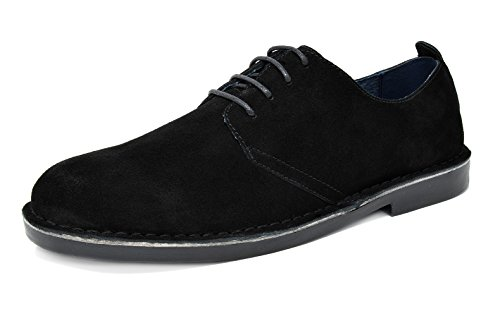 Black Mens Oxford (Bruno Marc Men's Francisco-Low Black Suede Leather Lace Up Oxfords Shoes - 11 M US)