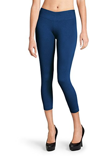 Solid Seamless Capri Length Basic Footless Leggings (Navy)