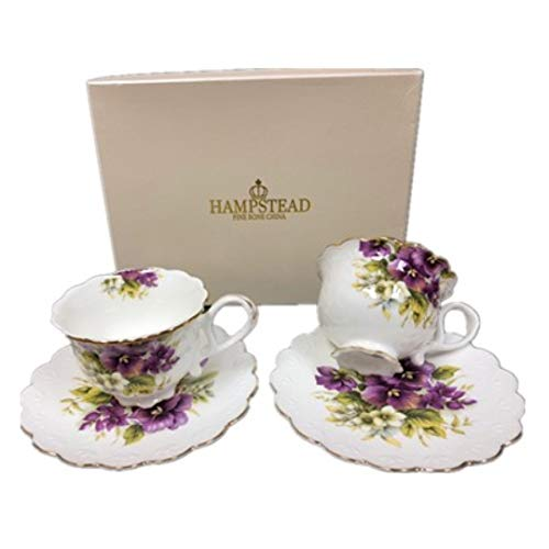 Set of 2 Hampstead Collection Pink Roses 8-Ounce Porcelain Tea Cups and Saucers