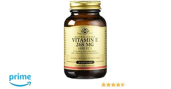 Solgar Vitamina E 268 mg (400 UI) Cápsulas blandas - Envase de 50: Amazon.es: Salud y cuidado personal