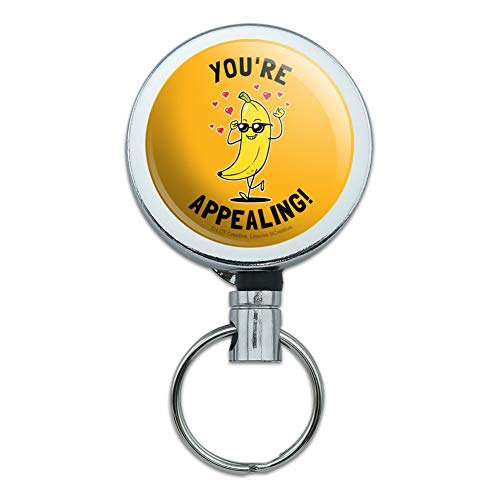 (You're Appealing Banana Funny Humor Heavy Duty Metal Retractable Reel ID Badge Key Card Tag Holder with Belt Clip)