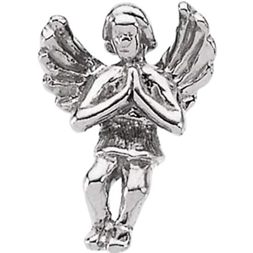 Bonyak Jewelry Praying Angel Lapel Pin in 14k White Gold