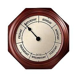 DayClocks Classic Day Clock - Day of the Week Clock - Fun Retirement Gift - Mahogany Wall Clock
