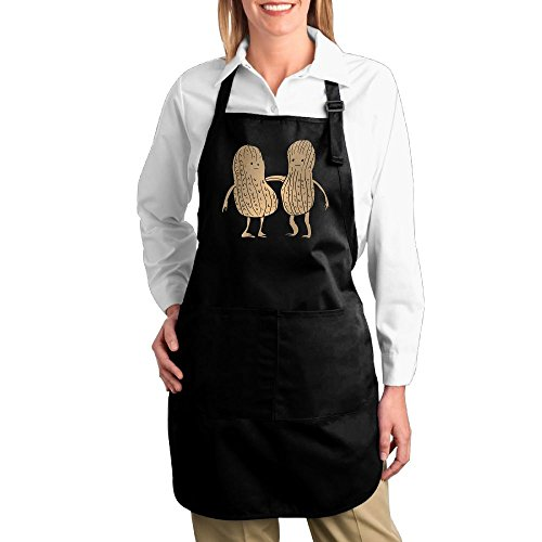 [Dogquxio Best Friends Peanuts Kitchen Helper Professional Bib Apron With 2 Pockets For Women Men Adults Black] (Snoopy Costume Diy)