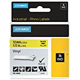 Dymo 18432 RhinoPRO Vinyl Labels, Self-Adhesive, 12 mm x 5.5 m - Black Print on Yellow