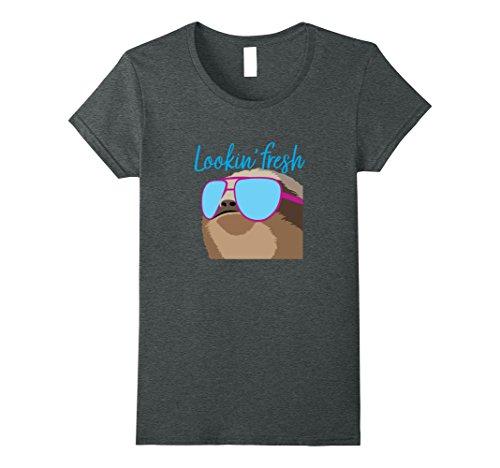 Womens Funny Lazy Sloth Tshirt Looking Fresh Sunglasses Small Dark - Looking Funny Sunglasses