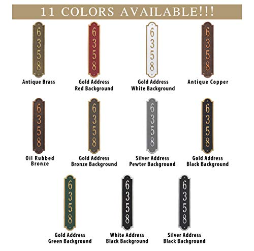The Richmond Vertical Address Plaque. Personalized Cast Metal Sign. 11 Colors Available! Custom House Numbers by Metal Address Sign (Image #3)