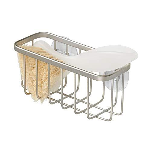 InterDesign Austin Kitchen Sink Suction Holder for Sponges, Scrubbers, Soap, Scouring Pads, Bathroom Shower Organizer, 5.75