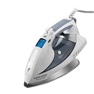 Black & Decker D6000 All-Temp Steam Iron with Stainless-Steel Soleplate, White/Grey