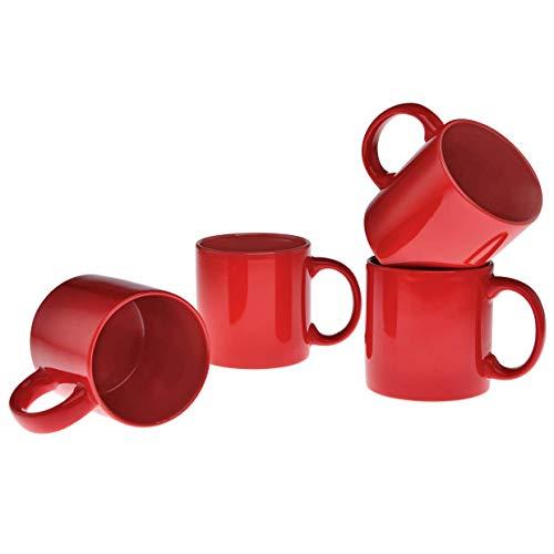 Culver 20-Ounce XL Grande Ceramic Mug Set of 4 (Red)