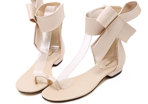 YCMDM Sandali Moda Grandi fiori di Bowknot piatto con sandali tacco basso Side-Tooth sandali primavera-estate , apricot , 36