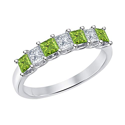 (Princess Cut Peridot & Diamond Half Eternity 14k White Gold .925 Sterling Silver Wedding 7-Stone Band Ring for Women)