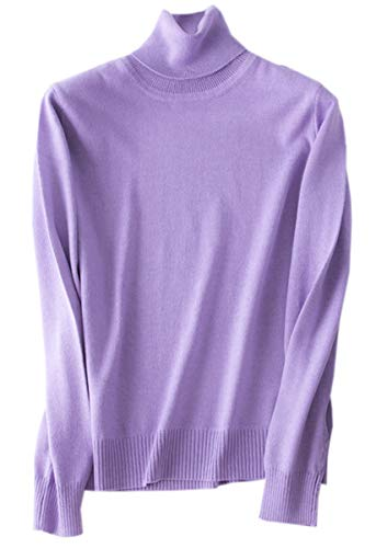 (Betusline Women Basic Solid Knitted Turtleneck Sweater Pullover Purple)