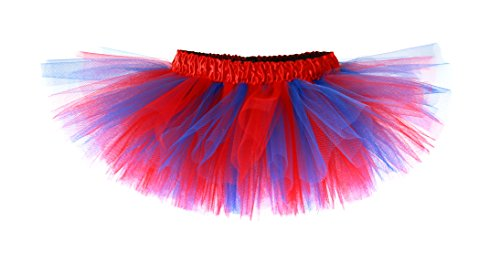 Red & Blue Classic Baby Tutu with Red Satin Waistband - Super Hero Costume Tutu (2-4T)]()
