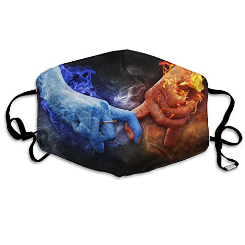 True Love Ice Fire Flame Hand Anti-Dust Earloop Mouth Mask for Women Men, Anti Flu Pollen Germs Cycling Painting Half Face Mouth Mask - Adjustable Elastic Band Respirator -