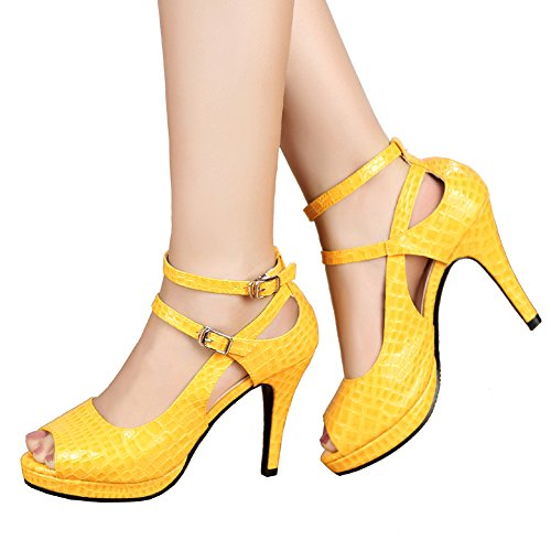 - getmorebeauty Women's Yellow Patent Snake Stripe Ankle Straps Dress Heeled Sandals 6 B(M) US