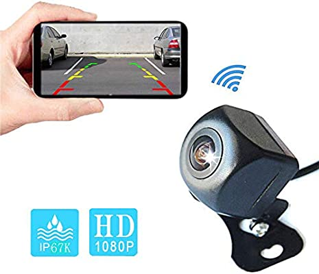 Camecho WIFI Reversing Camera 1080P Full HD Rear View Safety Wifi Backup Camera System with Night Vision Mini Body Waterproof View Camera for IOS//Android//Tablet