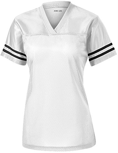 13 White Replica Football Jersey - Joe's USA Ladies Replica Athletic Football Jersey-White-L