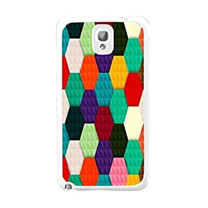 Pretty Back Cell Phone Case Unique Colorful Designed Hard Plastic Case Cover Shell for Samsung Galaxy Note 3 N9005 Cute Case (colorful geometric BY634)