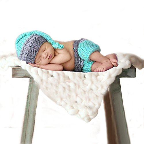 Feiuruhf Newborn Baby Girl Boy Crochet Knit Hat Costume Photography Prop Outfit (Fur Crocheted Hat)