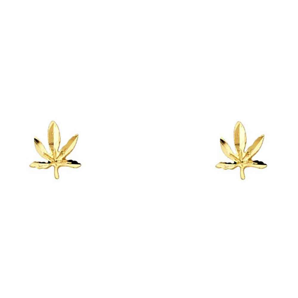 0.35 in x 0.27 in Womens 14k Yellow Gold Marijuana Leaf Small Tiny Baby Post Earrings