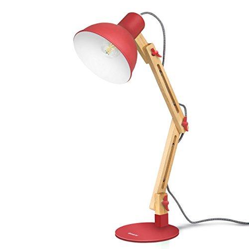 Lamp Desk Arm Adjustable Swing (Tomons Swing Arm LED Desk Lamp, Wood Designer Table Lamp, Reading Lights for Living Room, Bedroom, Study, Office, Bedside Nightstand Lamp with 4W LED Bulb - Red)