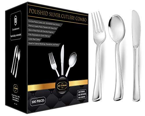 300 Silver Plastic Silverware Set, Plastic Silver Cutlery Set, Disposable Flatware Silver,100 Silver Plastic Forks,100 Silver Plastic Spoons,100 Silver Plastic Knives Heavy Duty Silverware Party Bulk -