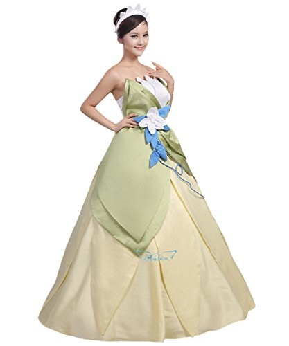 Angelaicos Womens Floral Fairy Costume Halloween Cosplay Long Dress Green (M) -