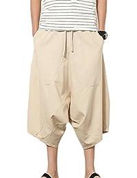QD-CACA Mens Elastic Waist Linen Drop Crotch Capri Baggy Harem Pants
