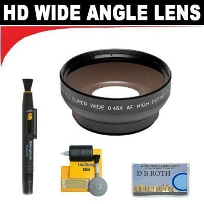 0.5x Digital Wide Angle Macro Professional Series Lens+ Lenspen + 5 Pc Cleaning Kit + DB ROTH Micro Fiber Cloth For The Sony HDR-UX5, UX7, UX10, UX20, DCR- DCD808, DVD810, DVD850, DVD908, DVD910 DVD Camcorders by DB Roth