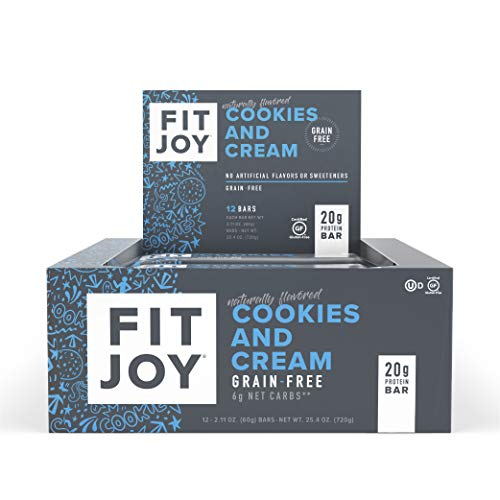 FitJoy Protein Bars, Gluten Free, Grain Free, High Protein Snacks - Low Sugar, Low Carb, 20g Protein Bar - Cookies & Cream, 12 Pack of 2.11 oz. Bars (Packaging May Vary)