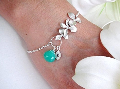 Personalized Birthstone Bracelet, Orchid Initial Monogram Charm Bracelet STERLING silver, Wedding Jewelry, Bridesmaid gifts, Mother