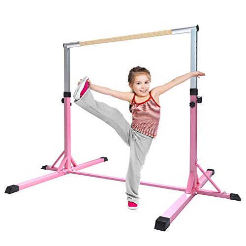 FBSPORT Gymnastics Trainning Kip Bar Expandable Horizontal Bar Adjustable Height Fitness Equipment for Home/Floor/Practice/Gymnastics/Tumbling/Parkour (Pink) -