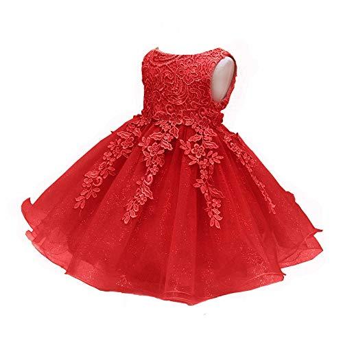- LZH Girls Birthday Dress Baptism Wedding Party Flower Dress Red