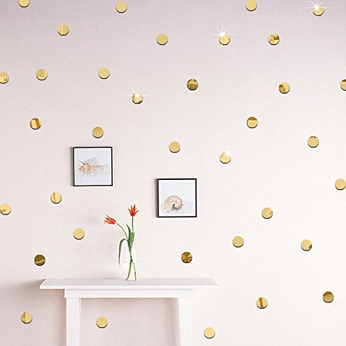 Dot Polka Mural (Amaonm Removable 3D Acrylic Polka Dots Wall Decals DIY Mirroe Circle Dot Wall Stickers Decor Home Decorations art Mural for Kid Rooms Nursery Bedroom Ceiling Living Room (200pcs x 2cm, Gold))