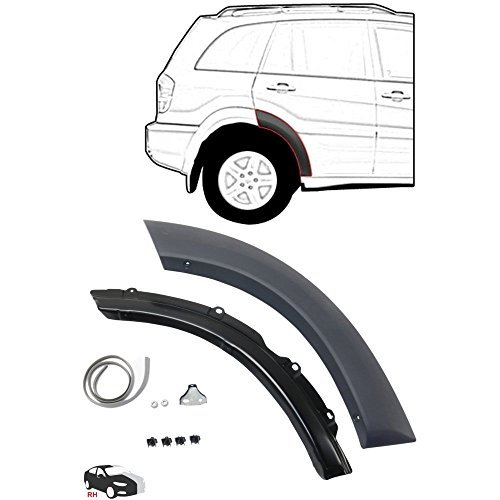 Rear Wheel Opening Molding Compatible with Toyota RAV-4 01-05 RH Front Section Black Paint To Match Right Side