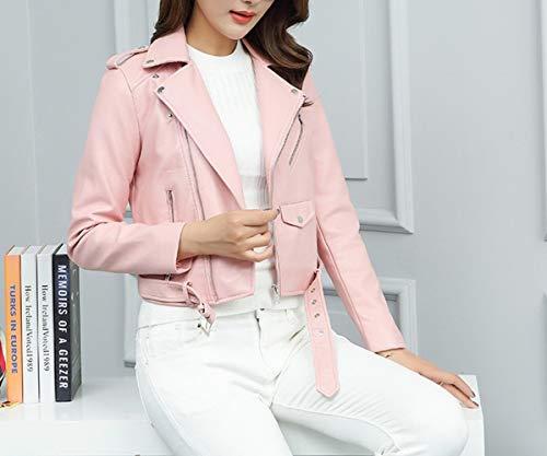 corta piccola abbigliamento autunno S cintura PU giacca SED Rosa Risvolto giacca femminile slim nvwpEn0qAx
