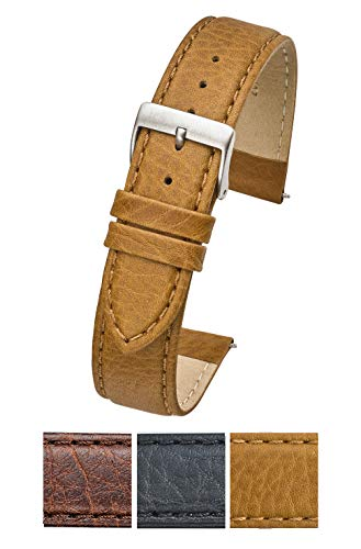 Soft Stitched Semi Padded Genuine Leather Buffalo Grain Watch Band in Extra Long for Wider Wrists ONLY- Black, Brown, Tan in Sizes 18XL to 26XL (fits Wrist Sizes 7 1/2 to 9 inch) (20XL, TAN)