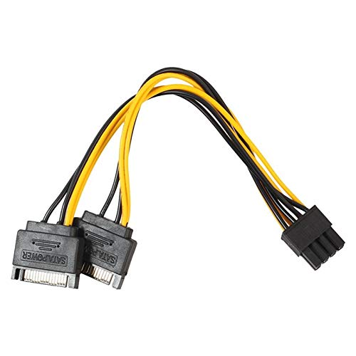 Male Video Card Power Cable 6+2 Cailiaoxindong Dual 15Pin SATA Male to PCIe 8Pin