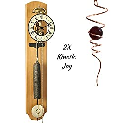 Qwirly 2 Item Kinetic Bundle: Hermle Michelle 8-Day Passing Bell Strike Skeleton Wall Clock 70992-N40711 and Optical Illusion Spinner