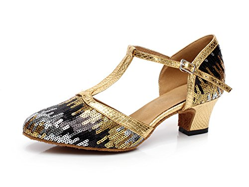 Minitoo QJ706 Womens Sequins Chunky Satin Sparkle Modern Salsa Tango Ballroom Latin Dance Shoes Gold Fm7s5OO11