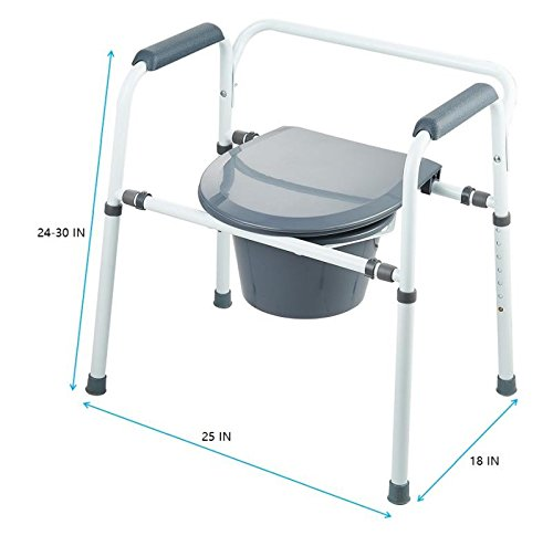 Medokare Bedside Commode Chair - Heavy-Duty Steel Commode Seat, Bedside Potty Chair for Adults, Medical Handicap Toilet Seat with Handles and Bucket by Medokare (Image #5)