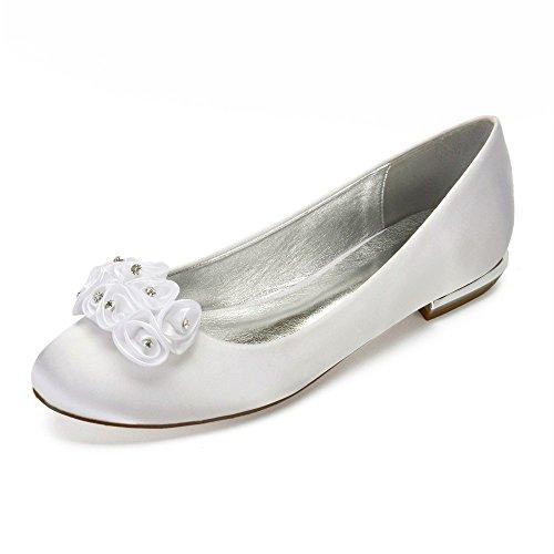 Braut Runde Tanz Kopf Hochzeit Party Lace Frauen Schuhe Zxstz Schuhe Satin Schuhe Schuhe Blume Low Heel Kleid fZtx1Zz6qw