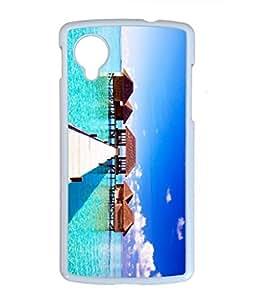 The Maldives Scenery Customized Design PC White Case for Google Nexus 5 Wooden Bridge