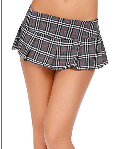 Avidlove Women Sexy Schoolgirl Skirt Roleplay Sleepwear Plaid Mini Pleated Mini Dress Grey Medium -