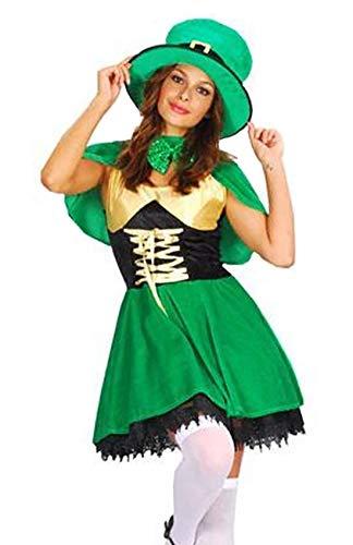 Rimi Hanger Ladies Saint Patrick Lady Leprechaun Costume Women Irish Religious Day Outfit One Size -