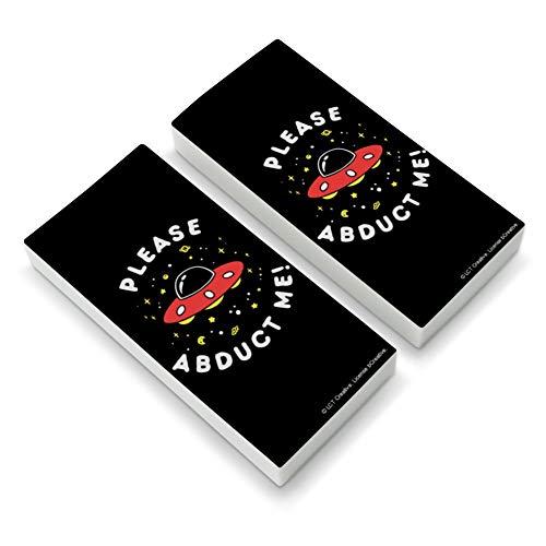 Please Abduct Me UFO Aliens Funny Humor Eraser Set of 2 (Eraser Ufo)
