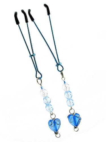Fresh Nipple Clamps, Tweezer With Beads & Heart Chrm, Blue