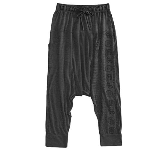 Men's Harem Pants Capri Casual Print Loose Trousers Nationality Trousers Pants Hip Hop Pants Hippie Pants Gray